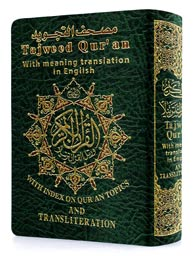 Tajweed Quran with Meanings Translation and Transliteration in English - Pocket Size
