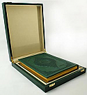 Golden Tajweed Quran in Wooden Box and Golden Inside and Borders, in a very luxurious wooden box